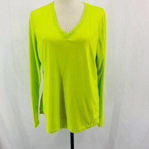 Danskin Long Sleeve Neon V Neck Active Wear Top